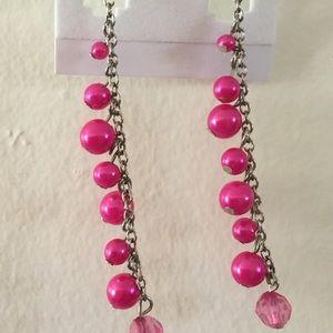 Handmade Pink Bead Cluster Earrings